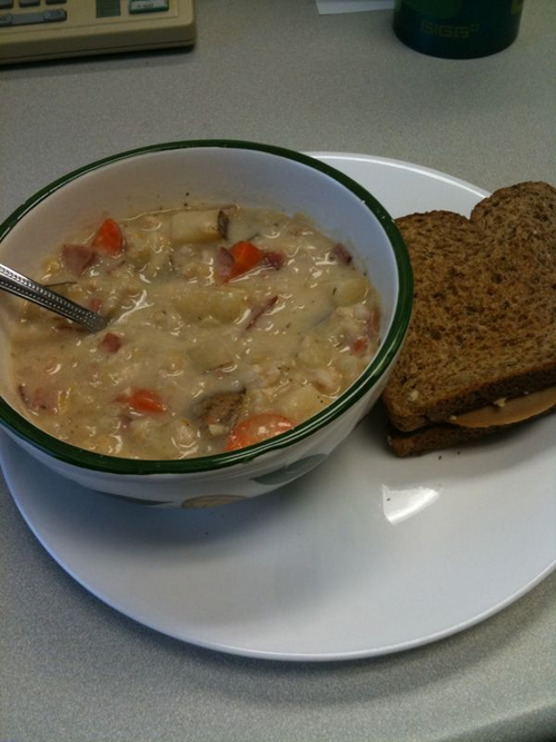 Homemade soup + sandwich