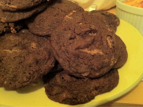 Chocolate chip chocolate cookies with peanut butter insides