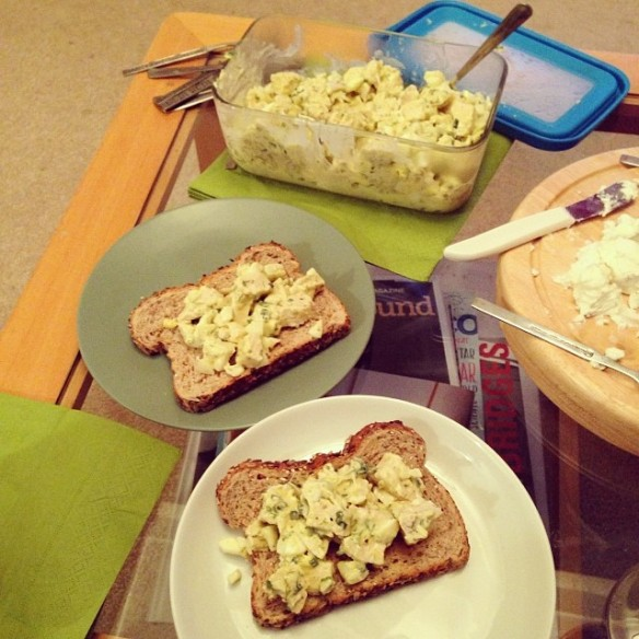 Chicken and egg salad toasts from the smitten kitchen cookbook