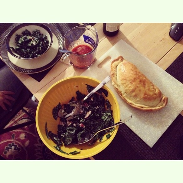 Kale salad with with cherries and pecans (almonds), rushed pizza dough, eggplant and three cheese calzone
